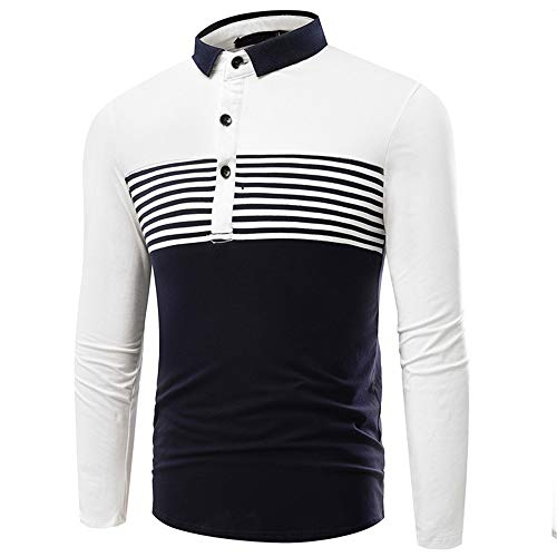 Polo de los hombres de manga larga camisa de polo de manga larga 3XL de los hombres Polo de manga larga blanco