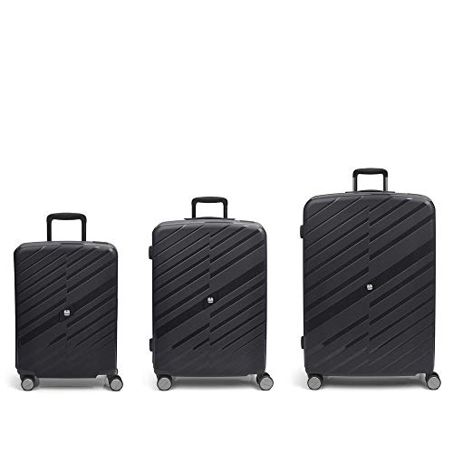Gabol – Sendai | Hard Case Set with Three Black Suitcases with Cabin Suitcase, Medium Trolley and Large Trolley