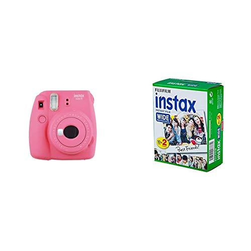 Fujifilm Instax Mini 9 - Cámara instantánea, Cámara con 1x10 películas, Rosa + Instax Wide 10X2 - Película Fotográfica, Color Blanco