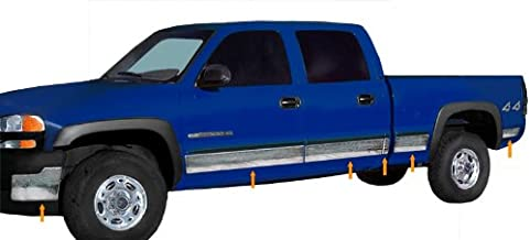 Made in USA! Works with 2001-2006 Chevrolet Silverado Crew Cab Short Bed with Fender Flare Rocker Panel Chrome Stainless Steel Body Side Moulding Molding Trim Cover 6