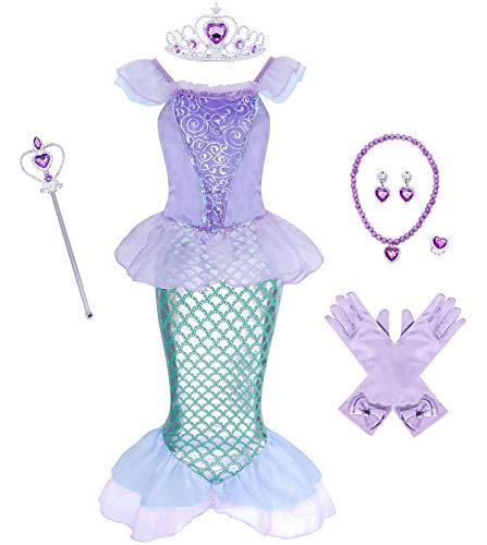WonderBabe Vestido De Sirena para Niñas Disfraz De Desfile De Moda Traje De Actuación De Cumpleaños De 9-10 Años