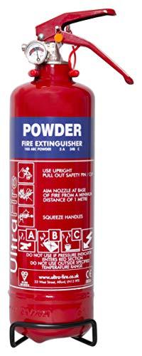 UltraFire 1kg Powder Fire Extinguisher - Car, Taxi, Caravan, Camping, Boat - Kitemarked EN3
