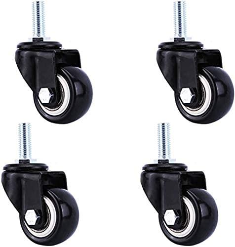 Castor Wheels 2 tums Heavy Duty Caster Wheels, gängade stamhjul, polyuretan Möbelhjul, industriella hjul, byteshjul, för vagnar, arbetsbänk, vagn, stamhög 25mm, 4 st (färg: broms, storlek: m10)