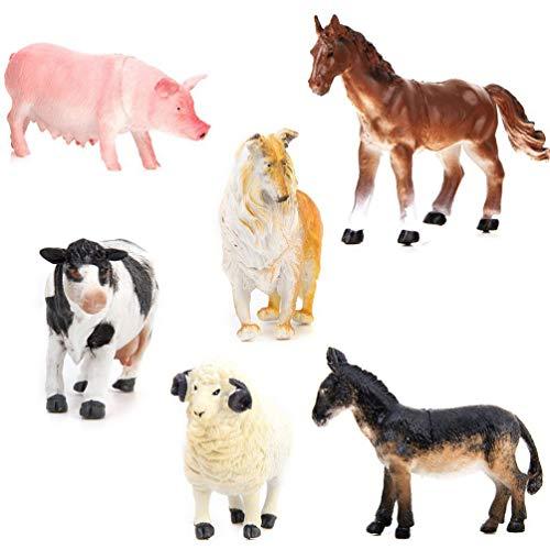 STOBOK Personaggi realistici per animali domestici, a forma di maiale, cane, mucca, pecora, cavallo, asino, 6 pezzi