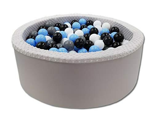 Odolplusz Bällebad 90x30 cm ∅ 7Cm | Bällepool für Baby mit 200 bunten Bällen Rund, viele Farben zur Auswahl (Grau - Junge)