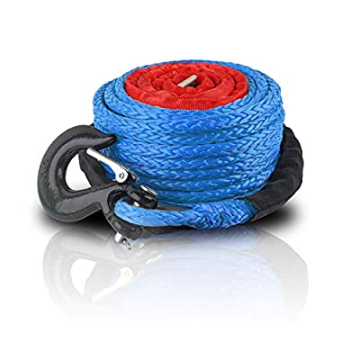 """ZESUPER SK75 3/8"""" x 100ft Dyneema Synthetic Winch Rope with Hook Car Tow Recovery Cable Synthetic Winch Rope Winch Line Cable 23000 LBs for 9500lb-13500lb Winch (Blue)"""