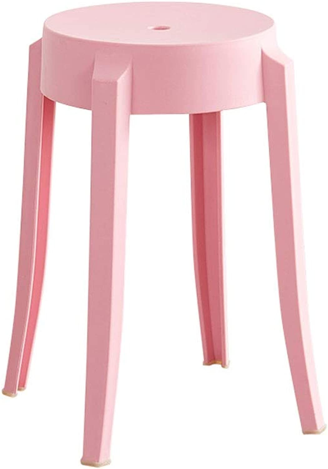 A+ Household Plastic Round Stool,Thickened Living Room Small Bench,Restaurant Simple High Dining Table Chair,Non-Slip PP Four-Legged Stool - 26cmX47cm (color   Pink)
