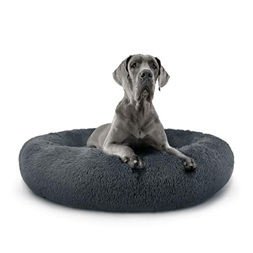 The Dog's Bed Sound Sleep Donut Dog Bed, XXL Steel Grey Plush Removable Cover Premium Calming Nest Bed