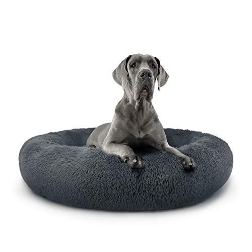 The Dog's Bed Sound Sleep XXL Donut Hundebett, Stahlgrau Plüsch Abnehmbarer Bezug, Premium Beruhigungsnest Bett