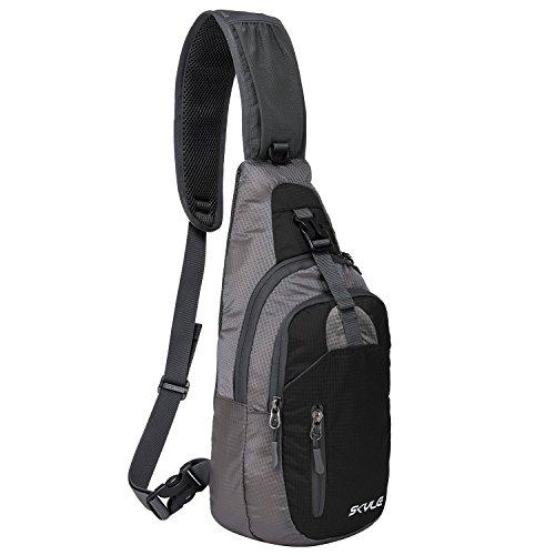 Coreal Damen Herren Sling Bag Brust Umhängetasche Rucksack schwarz