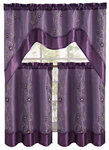 """Daphne Embroidered Kitchen Curtain Set By Victoria Classics - Assorted Colors (Purple) 3 pieces one valance 57""""in x 36""""in(145cm X 91cm) two tiers 28""""in X 36""""in (71cm X 91cm)"""