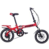 JHTD Bicicleta Plegable Deportiva al Aire Libre, Velocidad Variable Doble Disco Freno suspensión Completa Antideslizante, Estudiantes Adultos niños conducción portátil