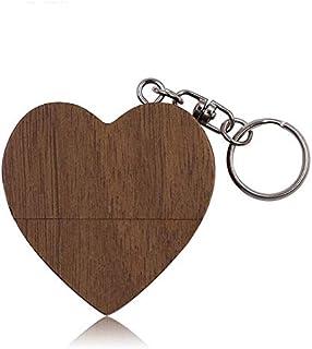 QGT USB Flash Drives 64GB USB 2.0 Wood Couple Heart Shape U Disk(Walnut Wood) (Material : Walnut Wood)