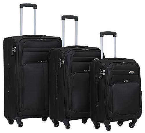 BEIBYE 4 Rollen Reisekoffer 3tlg.Stoffkoffer Handgepäck Kindergepäck Gepäck Koffer Trolley Set-XL-L-M (Schwarz, Set)