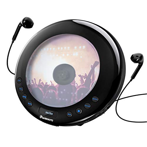 Portable CD Player with FM Transmitter, 18 Hours Battery, Anti-Shock Protection, Backlight, Compatible with All Cars, Headphones, Aux and USB Cable Included - NAVISKAUTO