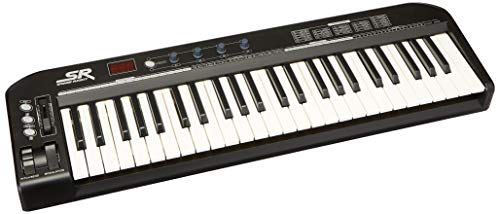 Monoprice 606607 MIDI Keyboard Controller - Black, 49 Key | Pitch-bend & Modulation wheels, Driverless plug and play for Windows and Mac PCs - Stage Right Series