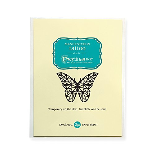 CONSCIOUS INK MANIFESTATION TATTOO 2-PACK'SPIRIT ANIMAL BUTTERFLY' (SET OF 2)
