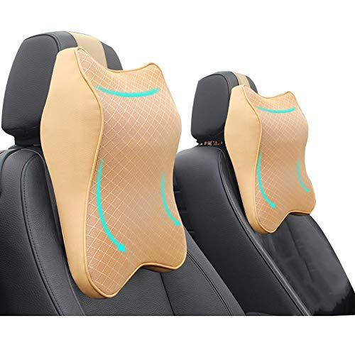 2 PCS Car Seat Headrest Neck Rest Cushion,Durable 3D Memory Foam, Comfortable Car Seat Headrest, Ergonomic Design, Breathable Removable Cover, for Neck/Back Pain Relief (2pcs Beige)