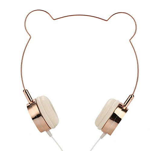 SOMOTOR Wired Panda Headphone Bear Ear Cute and Fashionable Style Rose Gold for Girls