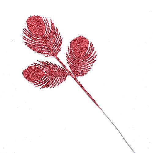 Mokylor 10Pcs Artificial Christmas Hollow Glitter Leaves,Flashing Xmas Tree Branch DIY Garland Hanging Pendant Scrapbook Decor for Party Wedding Wreath Decor