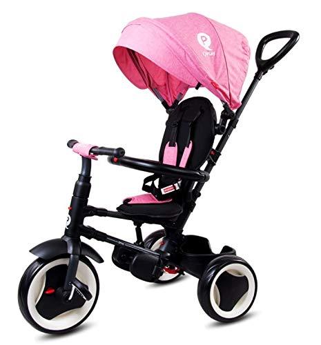 Sunbaby Triciclo Qplay Rito 4 en 1 con accesorios, plegable, claraboya, manillar, ruedas de goma, hasta 3 años, accesorios, rosa, marrón (SUNB.J01.013.1.7)