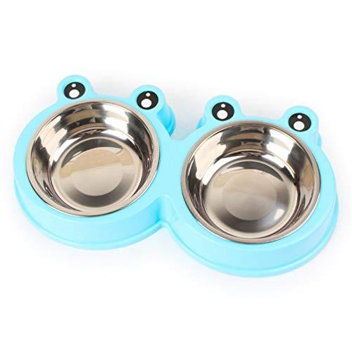 Fdscarf Fit + Fun Einfache Melamin Doppelschale Mit Integrierten Edelstahlschüsseln Hundenapf Katze Schüssel Speisen Schüssel-Wasser-schüssel Qualität Schüssel Puppy Bowl,Blue,S