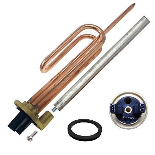 Resistencia curva termo eléctrico flange + Anodo magnesio + junta goma + Tornillo fijación. Kit recambio calentador de agua compatible con Cointra, Thermor, Junkers, Fleck, Ariston, Aparici. (1500 W)