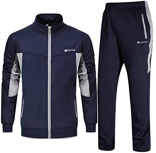 Ysento - Tuta da uomo per jogging e palestra, con colletto rialzato Blu scuro e grigio. S