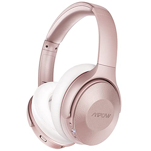 Mpow Pink Active Noise Cancelling Headphones, 45Hrs Playtime Bluetooth Headphones with Microphone, Quick Charge, Deep Bass, Wired Wireless Headset for Girls, Women, Adults, TV, Online Class, Office