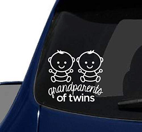 43LenaJon Calcomanía de vinilo para ventana con diseño de abuelos de gemelos, color blanco, versión para bebé, niños gemelos, gemelos y chicos gemelos, impermeable para coche