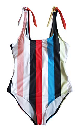 Omladi Women's One Piece Black and White Stripes Swimsuit with Adjustable Straps (US10, Blue)