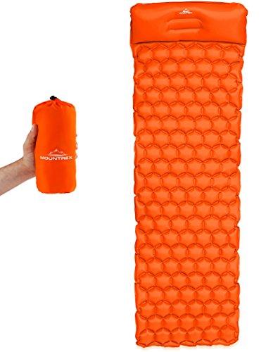 MOUNTREX® Aufblasbare Isomatte Schlafmatte - Ultraleicht, Kompakt & Wasserdicht - Luftmatratze, Schlafunterlage für Camping, Wandern & Outdoor - Inkl. Reparatur Kit (Orange, mit Kissen)