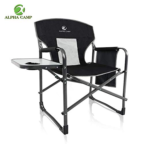 ALPHA CAMP Heavy Duty Folding Chair Oversized Director's Chair with Mesh High Back and Side Table, Supports 300 lbs - Black