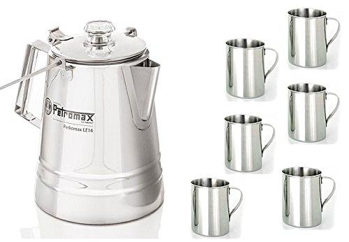 Set 4,2 L Perkolator Kaffebereiter Edelstahl + 6 Tassen