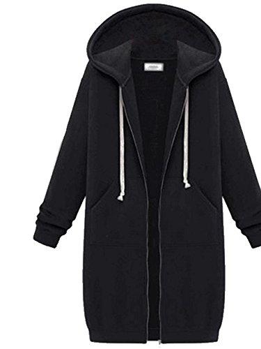 BININBOX® Damen langärmelige Plus Samt Mantel Jacke Kapuzenpullover (Deutsche Gr.XS/Hersteller Gr. S, schwarz)