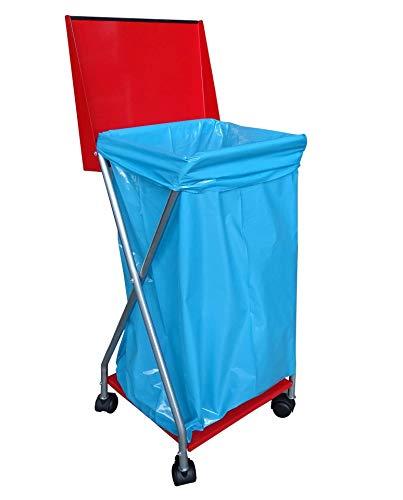 QUICK STAR Müllsackständer mit 4 Rollen und 25 Müllsäcken 120 Liter Ständer Müllbeutelhalter Müllsackhalter Abfallbehälter