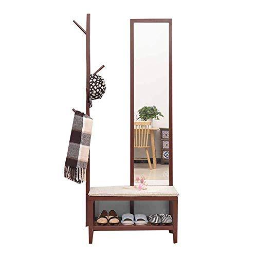 Garderobe garderobestandaard kledingrek hout 4-in-1 multifunctionele vloergarderobe wisselbank schoenenkast met spiegel slaapkamer woonkamer foyer werkkamer B A