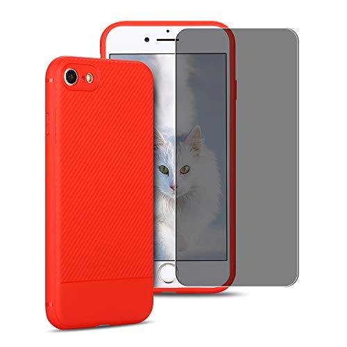 SpiritSun ES Funda para iPhone 6 Plus + 9H Anti Espía Cristal Vidrio Templado Protectora Templada, TPU Soft Silicona Carcasa Flexible Original Trasero Protector Case Cover - Rojo
