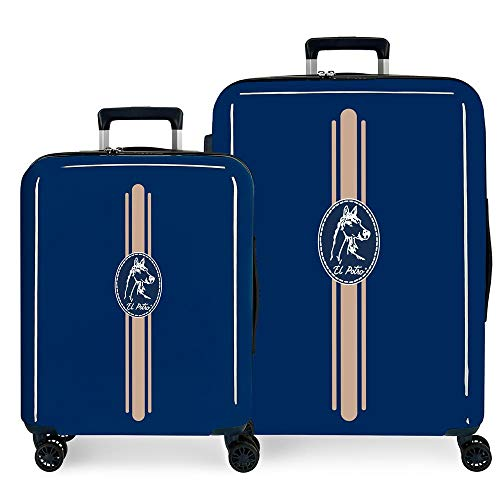 El Potro Galán Juego de maletas Azul 55/70 cms Rígida ABS Cierre TSA 119.4L 4 Ruedas Dobles Equipaje de Mano