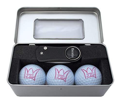 RoLoGOLF Golfgeschenk-Box - mit 3 Bällen Queen of Golf und aufklappbarer Pitchgabel mit personalisiertem Golfball-Marker