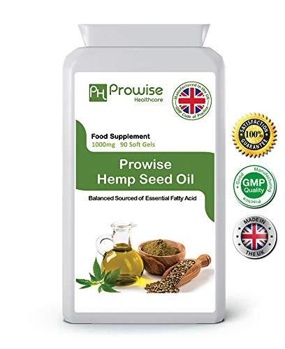 Aceite de semilla de cáñamo 1000 mg 90 Cápsulas de geles blandos I Rico en ácidos grasos Omega 3 y Omega 6 I Reino Unido Fabricado según el Código de prácticas GMP por Prowise Healthcare
