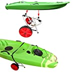 """Onefeng Sports 175LBS Kayak Cart Boat Carrier with Adjustable Width Axle for Carring Kayaks Canoes Spring Button Design… 17 ☀【ADJUSTABLE POLES】The distance between 2 poles is adjustable from 24-40cm(9.4""""-15.7""""). ☀【NEW TIRES】Plastic tires with rubber sheaths,won't slip.Tires are environment-friendly,odourless smelless.Size:25×7cm(9.8""""×2.7"""") ☀【PADDED DESIGN & MATERIAL】Black cover to protect your kayak or canoe.Made of Stainless Steel.Capacity:175 lbs.as been inserted into the trolley tube so don't worry to loss.We have fixed the strap(10ft) on the rubber cones,easy to fasten the kayak."""
