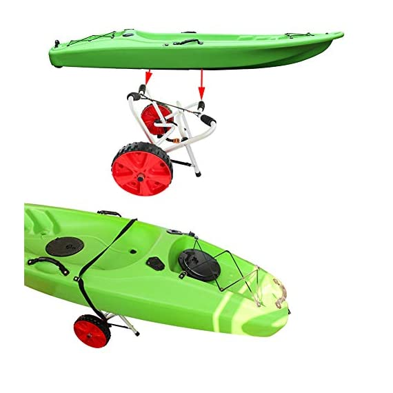 """Onefeng Sports 175LBS Kayak Cart Boat Carrier with Adjustable Width Axle for Carring Kayaks Canoes Spring Button Design… 8 ☀【ADJUSTABLE POLES】The distance between 2 poles is adjustable from 24-40cm(9.4""""-15.7""""). ☀【NEW TIRES】Plastic tires with rubber sheaths,won't slip.Tires are environment-friendly,odourless smelless.Size:25×7cm(9.8""""×2.7"""") ☀【PADDED DESIGN & MATERIAL】Black cover to protect your kayak or canoe.Made of Stainless Steel.Capacity:175 lbs.as been inserted into the trolley tube so don't worry to loss.We have fixed the strap(10ft) on the rubber cones,easy to fasten the kayak."""