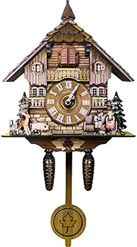 yxx Madera Cuco Reloj Colgando pájaro Reloj Handcrafted Tradicional Negro Bosque casa...