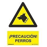 CABLEPELADO Señal precaucion Perros Aluminio 21x30cm Amarillo