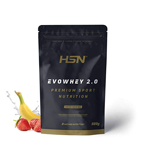 Concentrado de Proteína de Suero Evowhey Protein 2.0 de HSN | Whey Protein Concentrate| Batido de Proteínas en Polvo | Vegetariano, Sin Gluten, Sin Soja, Sabor Fresa Banana, 500g ⭐