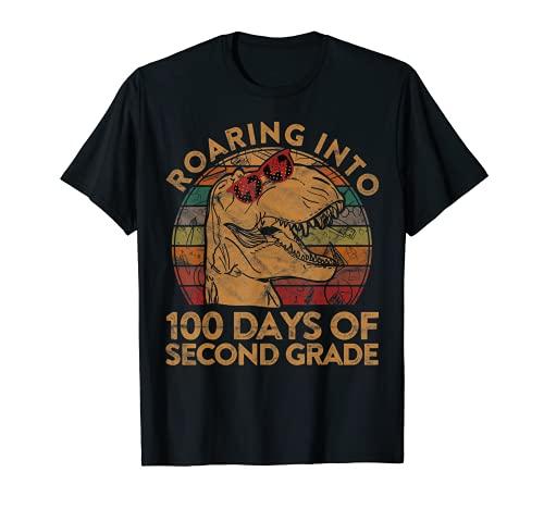 Roaring Into 100 días de segundo grado Feliz 100th Day School Camiseta