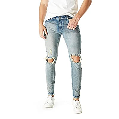 Amazon - 45% Off on Mens Ripped Distressed Jeans Slim Skinny Fit Stretch Tapered Leg Destroyed Denim Pants