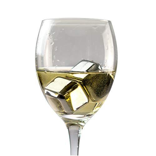 KOBERT GOODS - 4 Whisky-Steine in Farbe Edelstahl Eckig - wiederverwendbare Kühlsteine aus echtem Speckstein od. gebürstetem Edelstahl - Eiswürfelersatz (eckig/ oval) für perfekte Kühlung ohne Verwässerung - mit Stoffbeutel - 7
