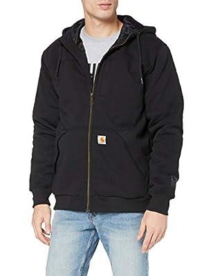Carhartt Men's Rain Defender Rockland Quilt Lined Hooded Sweatshirt, black, Large